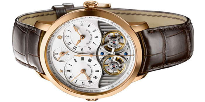 Arnold & Son DBS 18-Carat Rose Gold Case.