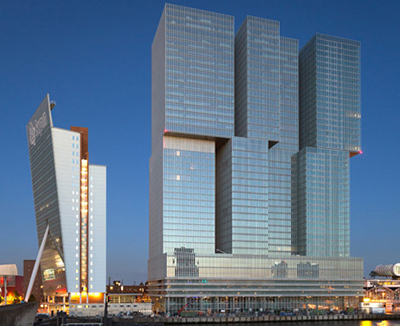 De Rotterdam is a building on the Wilhelminapier in Rotterdam, designed by Rem Koolhaas in 1998.