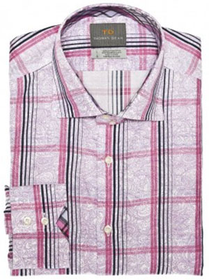 Thomas Dean Lilac Plaid with Print Detail Button Down Men's Sport Shirt: US$110.