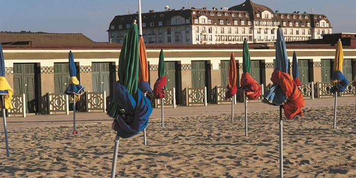 Deauville's Sandy Beach, Normandy, France.