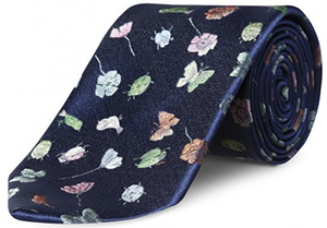 Richard James Deep Blue Bugs, Birds & Flowers Tie: £85.