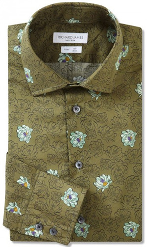 Richard James Fitted Khaki Desert Flower Men's Shirt: £255.