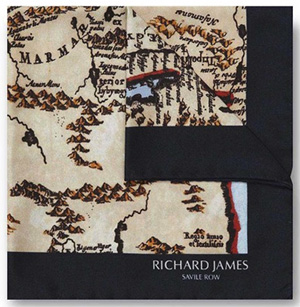 Richard James Navy Desert Map Pocket Square: £50.