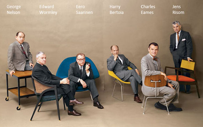 George Nelson, Edward Wormley, Eero Saarinen, Harry Bertoia, Charles Eames and Jens Risom. Playboy Magazine, July 1961.