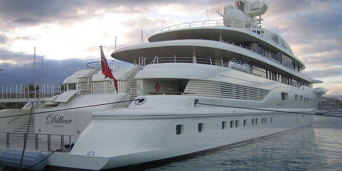 Dilbar - the world's 23rd largest yacht: 361 ft / 110 m.