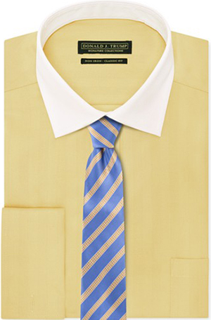 Donald J. Trump Non-Iron Herringbone Gold Dust Solid French Cuff Dress Shirt & Yellow Rolling Stripe Tie.