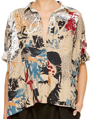Donna Karan Rolled Sleeve Camp Women's Shirt: US$895.