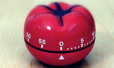 Pomodoro Technique. A 'pomodoro' kitchen timer, after which the method is named.