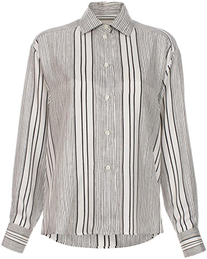 Paul Smith White Hand-Drawn Stripe Oversized Silk Shirt: £525.