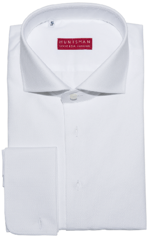 Huntsman White Marcella Shirt, Semi-Fitted, Superior Marcella Pique Front, and Finest Zephyr Cotton: £275.
