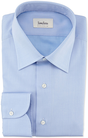 Neiman Marcus Textured Solid Dress Shirt, Blue: US$255.