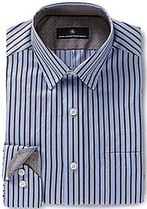 Hart Schaffner Marx Long-Sleeve Dobby-Stripe Woven Shirt: US$98.50.