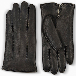 Dunhill Black Fur Lined Leather men's Driving Gloves.
