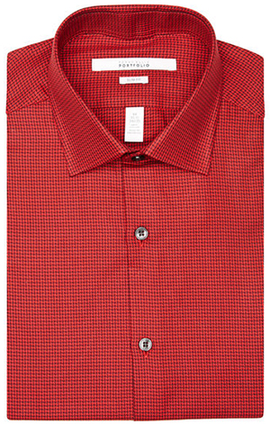 Perry Ellis Slim Fit Tritone Check Dress Shirt: US$24.99.