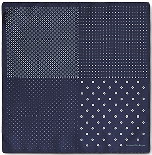 Ermenegildo Zegna Blue and Green Silk Pocket Square: US$70.