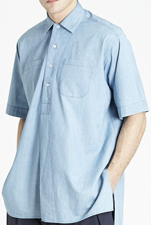 E. Tautz short sleeve overshirt in washed denim: £280.
