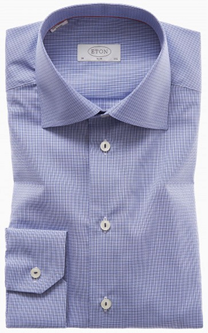 Eton Blue Check Twill shirt: US$255.