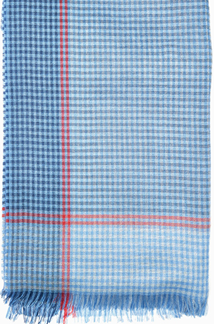 Gieves & Hawkes Sky Blue Gingham Cashmere and Silk Scarf: £145.