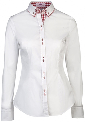 Hawes & Curtis Plain White Slim Fitted Shirt with Red Contrast Double Collar: £39.50.