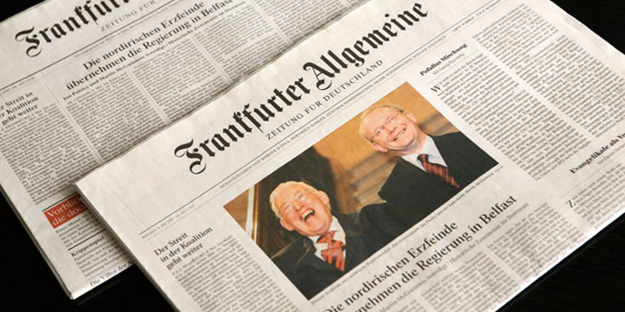 Frankfurter Allgemeine Zeitung - the German newspaper with the widest circulation abroad, with its editors claiming to deliver the newspaper to 148 countries every day.
