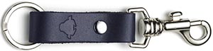 Tusting Leather Keyring in Navy: £25.