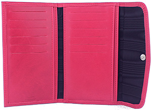 Tusting Leather Fold Purse in Raspberry: £135.