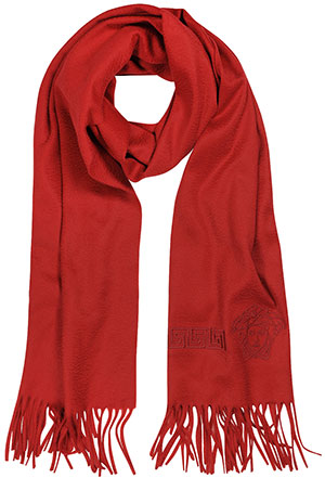 Forzieri Versace Red Medusa and Greca Logo Cashmere Fringed Men's Scarf: US$530.