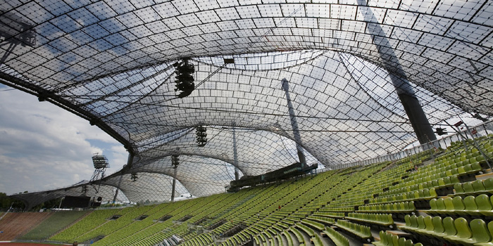 Architect Frei Otto: tensed structures for the Munich 1972 Olympic Games. Olympic Stadium and Park. Munich, Germany.