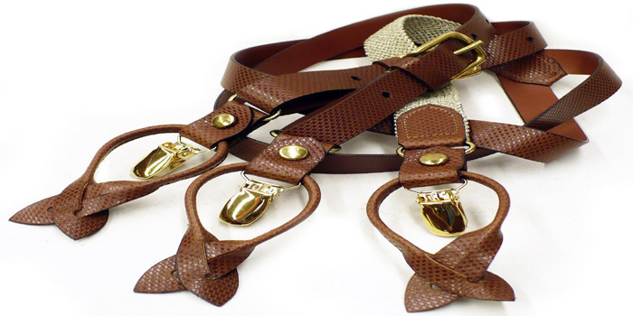 Fullum & Holt Brown Weave and Beige Pattern Suspenders.