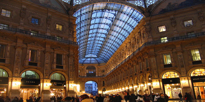 Galleria Vittorio Emanuele II, Piazza del Duomo, Milan, Italy. The oldest shopping mall in Italy.