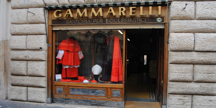 Ditta Annibale Gammarelli, Via S. Chiara, 34, 00186 Rome. Italy. The Pope's tailor since 1798.