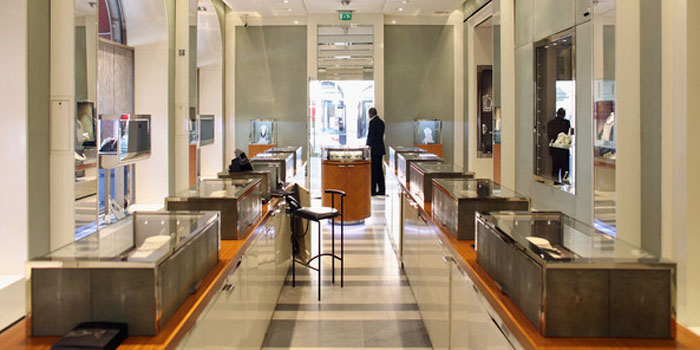 Inside the world's oldest jeweller Garrard's flagship store at 24 Albemarle Street, London W1S 4HT, England, U.K.