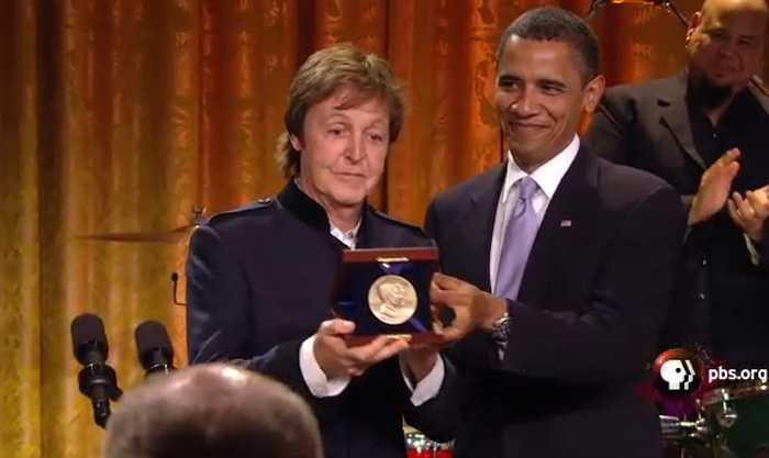 Paul McCartney receiving the Gershwin Prize from President Obama (2010).