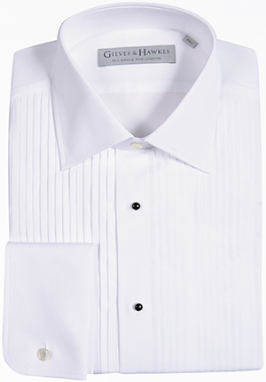 Gieves & Hawkes Classic Fit White Cotton Pleated Front Evening Shirt: £145.