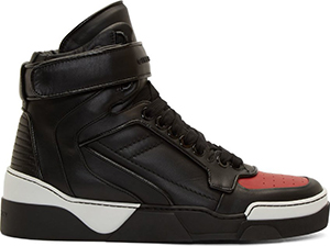 Givenchy Black & Red Leather Tyson High-Top men's sneaker: US$1,075.