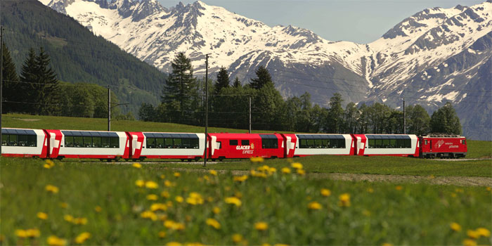 The Glacier Express is an express train connecting railway stations of the two major mountain resorts of St. Moritz and Zermatt in the Swiss Alps.