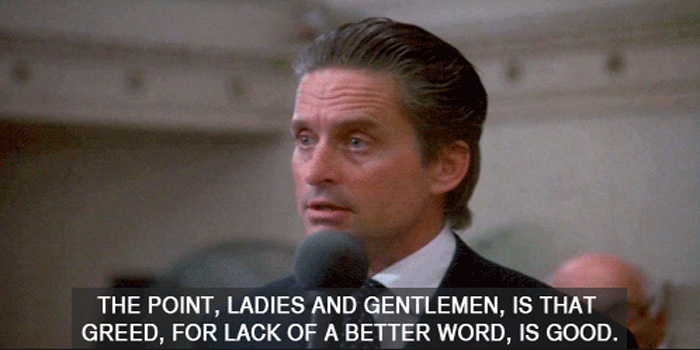 Gordon Gekko is a fictional character, the main antagonist of the 1987 film Wall Street and the antihero of its 2010 sequel Wall Street: Money Never Sleeps. Gekko was portrayed by actor Michael Douglas.