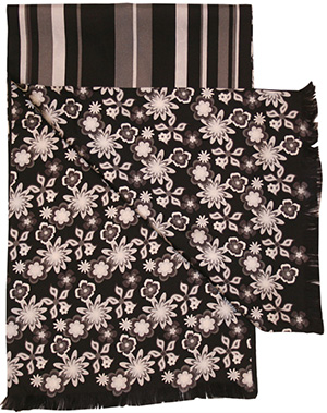 Gresham Blake Black Flower and Stripe Silk Men's Scarf: £75.