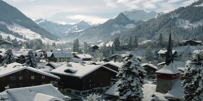 Gstaad village in the winter, CH-3780 Gstaad, Switzerland.