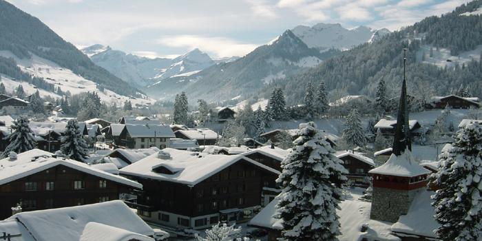 Gstaad village in the winter, CH-3780 Gstaad, Switzerland.