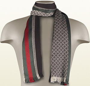 Gucci men's stole with diamante pattern and signature web detail: US$350.