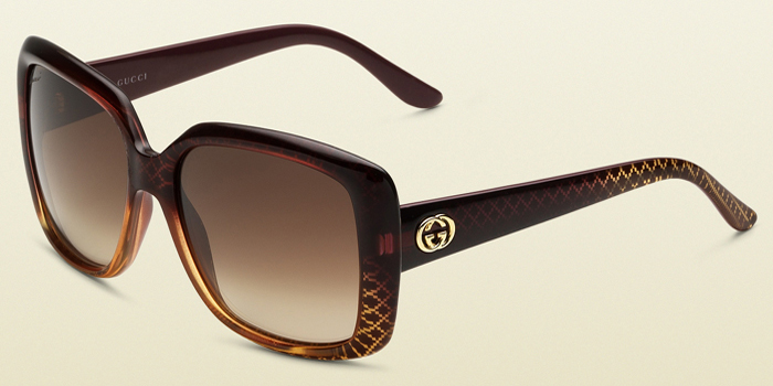 Gucci Women's Red Gold Rectangle Sunglasses: US$325.