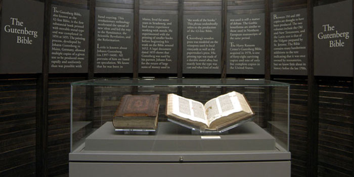 The Gutenberg Bible was the first major book printed with movable type in the West.