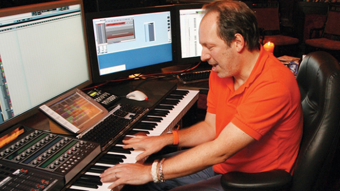 German composer Hans Zimmer at work.