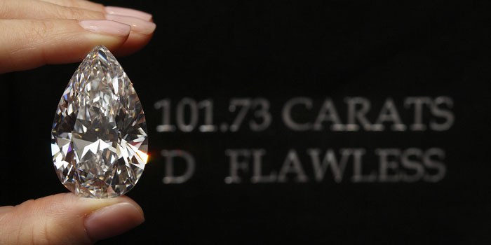 The Harry Legacy diamond. The world's largest pear-shaped, D color, type IIA, flawless diamond: 101.73 carats. Sold at Christie's Geneva on May 15, 2013 for US$26,737,913 (US$254,400 per carat) to American New York 5th Avenue Jewelers Harry Winston.