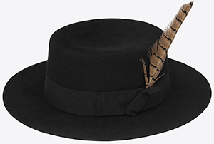 Saint Laurent Feathered Hat in Black Felted Rabbit Fur: US$950.