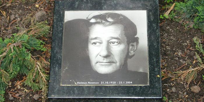 German-Australian photographer Helmut Newton's (1920-2004) grave at the Städtischer Friedhof III in Berlin, Germany.