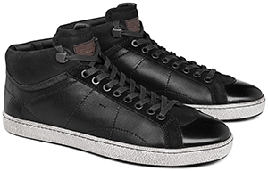 Santoni High-Top Men's Sneaker in Leather and Suede: US$339.50.