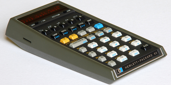 The HP-65 was the first magnetic card-programmable handheld calculator. Introduced by Hewlett-Packard in 1974 at a suggested retail price of US$795, it featured nine storage registers and room for 100 keystroke instructions. It also included a magnetic card reader/writer to save and load programs.