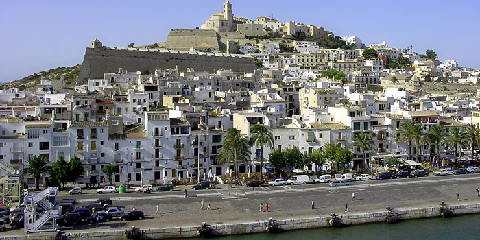 Ibiza Old Town with Cathedral, Ibiza, Balearic Islands, Spain.